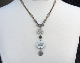 Antique Assemblage Necklace with Crown Button Coat of Arms Antique Chain and Glass Rosary Beads
