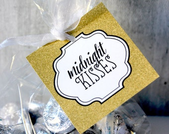 Midnight Kisses, Kisses Tag, New Years Eve, Party Favor, GOLD, DIY, Printable, Instant Download