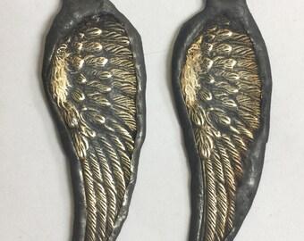 Soldered Angel Wing Pendant Charm Bohemian Raw Brass Metalwork  Altererd Art Supply Jewelry Supplies Scrapbook Necklace 1 piece
