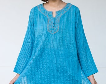 FREE SHIPPING--BN013--- Cotton blouse with cute pleats and embroidery