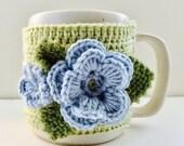 Floral Cup Cosy, Cup Sleeve, Mug Cosy, Cup Cozy, Mug Sleeve, Mug Warmer - Pure Wool & Cotton mix