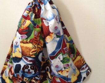 BEST SELLER- Extra Large Boys Drawstring Farm Animal Library Book Bag, Library Bag, Toy Bag, Laundry Bag, Beach Bag