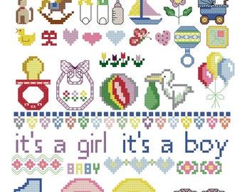 Nursery Designs - Baby Room - Cross Stitch - Children Room Stitchery designs - Needle Art Pattern - Child - Baby Shower -