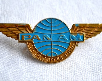 Vintage Pan AM Junior Clipper Pilot Wings Pin - Airlines Metal Pin Back