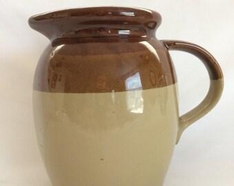 Vintage Three Tone Brown Stoneware Pitcher