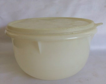 Small Vintage Tupperware Sheer White Medium Mixing Bowl with Lid