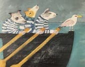 """Greetings card """"Three Dogs In A Boat"""""""