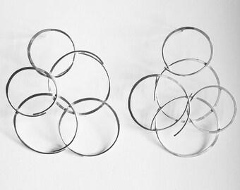 Handmade Mismatched Sterling Silver Link Earrings, statement earrings, modern earrings, contemporary earrings, silver earrings, wire earring