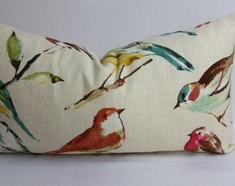 """RTS, Richloom Birdwatcher summer, toss pillow 26"""" x 13"""" lumbar, bird pillow, botanicals"""