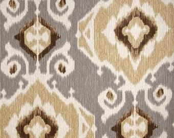 Pair of designer curtain panels drapes, Magnolia Delhi fossil, cotton print