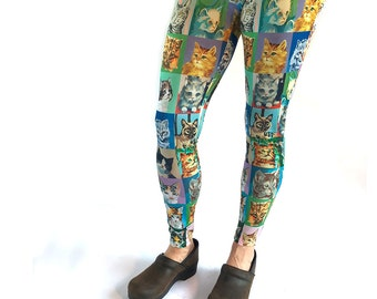 Cat Paint By Number Leggings - cat leggings - PBN cats - novelty leggings - cat portraits
