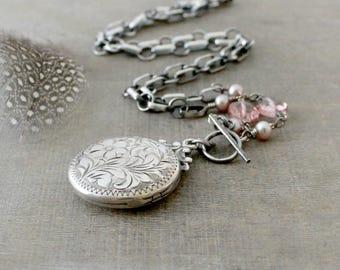 Silver Photo Locket, Sterling Silver Locket Necklace, Vintage Birks Locket Pendant, Push Gift, Keepsake Locket, Round Locket, Thick Chain