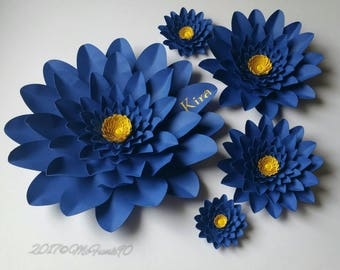 Large Paper Flowers Monogrammed in the Colors of Your Choice