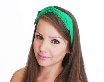 50% OFF Knotted Bandanas Green Headband Flexible Wire Scarf Cute Hair Accessories Convertible Hairband