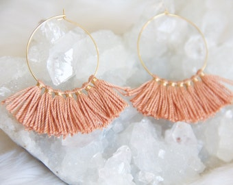 Tassel Hoop Earrings, Pink Blush