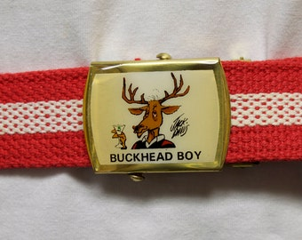Vintage Mens Belt - Red and White adjustable canvas belt with Jack Davis Atlanta Buckhead Boy Buckle - Moose with Martini Glass