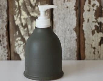 Ceramic Soap Dispenser / Soap Dispenser with Pump / Grey Soap Dispenser / Ready to Ship
