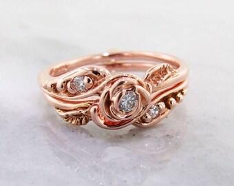 Petite Tea Rose Wedding Set: 14K Gold & Diamond - Made To Order Bridal Set Engagement Ring