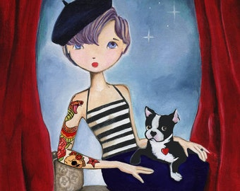 No Regrets, French Bulldog Art, Painted Girl Portrait, Edi in Paris with her Pup Print