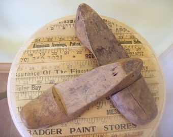 Set of 2 Vintage Primitive Wooden Shoe Forms Molds