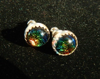 Sterling Silver with Rainbow Multicolored Dichroic Glass Post Earrings , Hand crafted, EP1