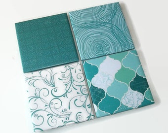 Teal Patterned Coasters Fully Wrapped Edges, Rustic Ceramic Tile Coasters, Cottage Chic Home Decor, Housewarming Gift - 038A