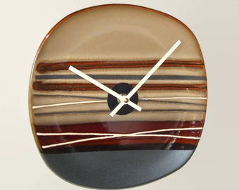 Brown Tan Wall Clock, 8-3/4 Inch Silent Ceramic Plate Wall Clock, Kitchen Clock, Pottery Clock - 2358
