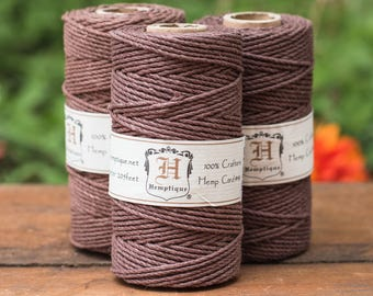 Brown Hemp Cord 2mm,  Brown  Twine,  205 feet,  48lb Test,    Macrame Cord  -T79