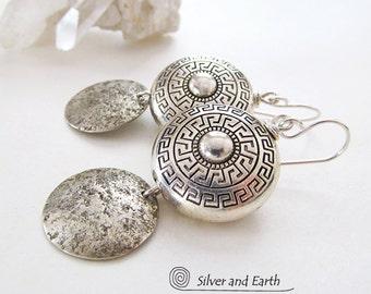 Greek Key Earrings, Sterling Silver Earrings, Handmade Silver Jewelry, Greek Key Jewelry, Hammered Silver Earrings, Ancient Greek Jewelry