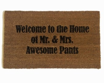 SALE AWESOME Welcome to the Home of Mr & Mrs Awesome pants™ funny Novelty doormat wedding housewarming bridal hostess gift