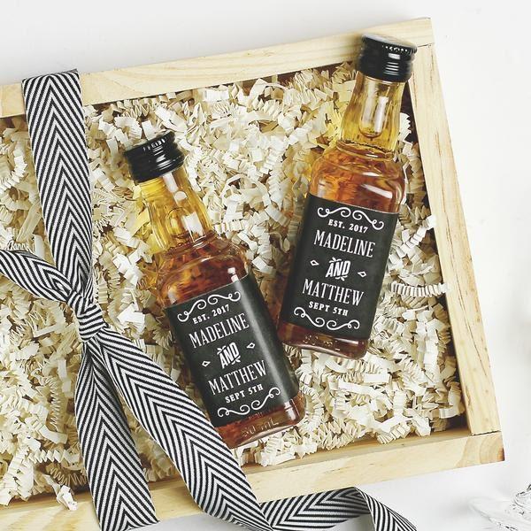 Free mini whiskey bottle wedding favor labels