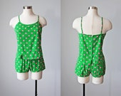 1950s Playsuit - Vintage 50s 60s Swimsuit - Green Pink Polka Dot Cotton Swimsuit Shorts Sunsuit S M - Joy Ride Swimming Suit