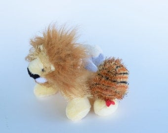 Chimera soft sculpture, lion goat and snake altered stuffed mutant animal