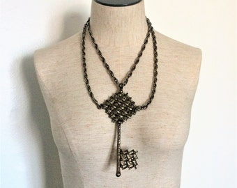 Brutalist Huge Key Statement Necklace - Antiqued Brass - Mark Dottenheim - 1950s