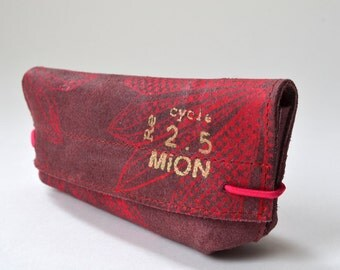 Leather case for glasses (red leather with neonred print)