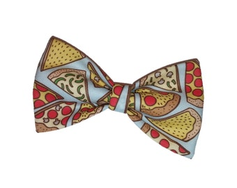 Pizza Bow Tie - Blue Dog Bow - Yummy Cat Bowtie Accessory - Junk Food Hair Clip