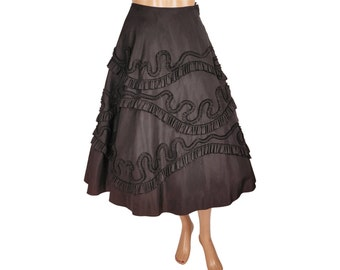 Vintage 1950s Black Taffeta Ribbon Work Skirt - Soutache Trim