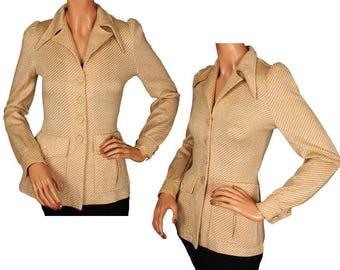 Vintage 1970s Gold Lurex Jacket - Disco Era - Pointy Collar - Puffed Sleeve - Ladies - S - M