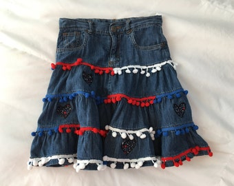 Red, White and Blue Pom Pom July 4th Whimsical Denim Skirt size 8