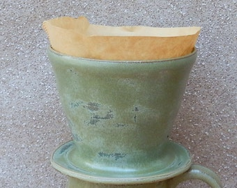 Coffee filter holder dripper pour over hand thrown stoneware pottery ceramic