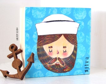 Sailor Brian Mixed Media Painting  - Bearded Sailor Painting - Nautical Wall Hanging - Small Works of ART