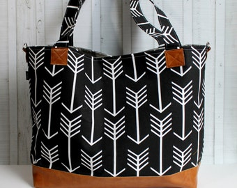 Black Arrows with Vegan Leather - Large / XLarge Tote Bag - Diaper Bag /  Overnight Bag / Travel Bag