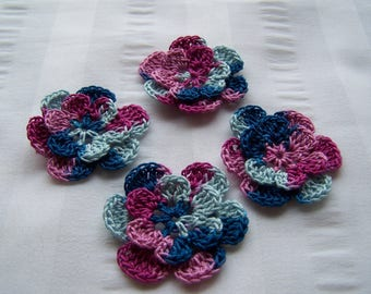 Appliques hand crocheted flowers set of 4 spring fling cotton 1.5 inch