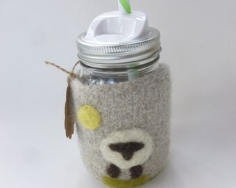 Pint size Felted wool mason jar cozy set oatmeal with sheep design