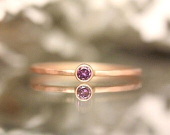 Holidays Sale - Genuine Purple Diamond 14K Rose Gold Ring, Gemstone Ring, Stacking Ring, Engagement Ring, Eco Friendly, Anniversary Ring - M