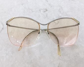 70s french wire frame eyeglasses gold silver two tone metal frame prescription eyewear frames 80s top frame chrome rimless eye glasses