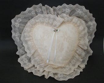 Vintage Lace Heart Pillow - Bed Accent Pillow