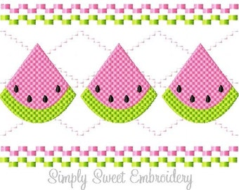 Faux Smocking Watermelon Machine Embroidery Design