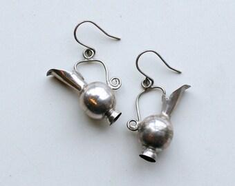 1950s sterling jug dangle earrings / 50s vintage silver water pitcher vase dangling pierced earrings