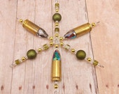 9mm Snowflake Ornament - Hunting Theme - Hunter Green - Bullet - Camouflage - Army - Military - Brass